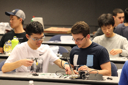 Students in an electronics class
